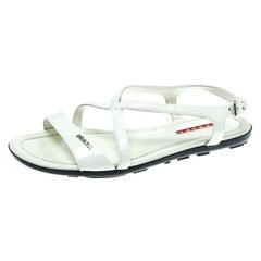 Prada Sport White Patent Leather Flat Sandals Size 35.5