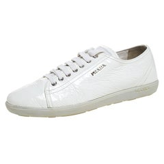 Prada Sport White Patent Leather Lace Up Low Top Sneakers Size 38.5