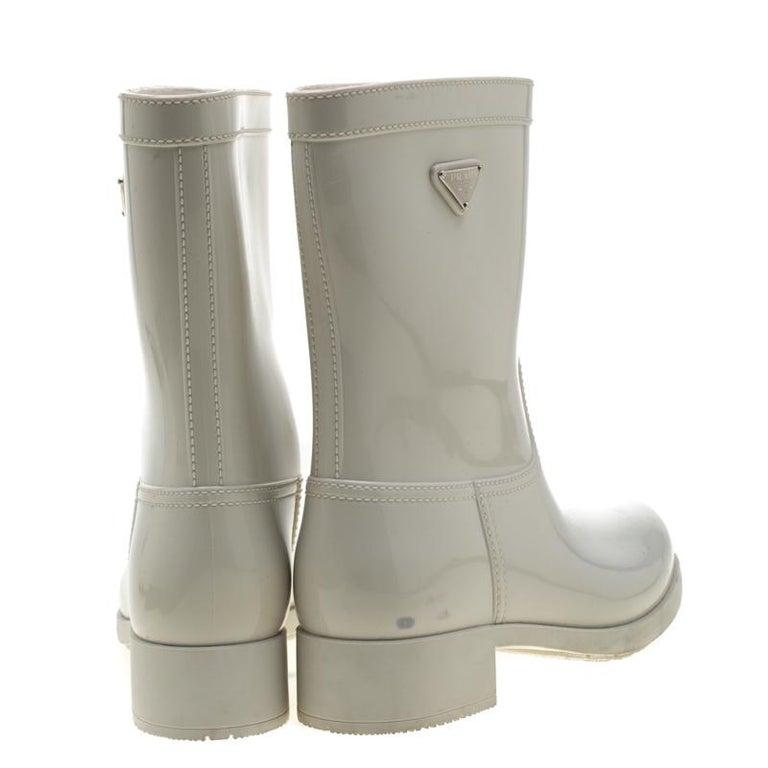 Gray Prada Sport White Rubber Clay Rain Boots Size 38 For Sale