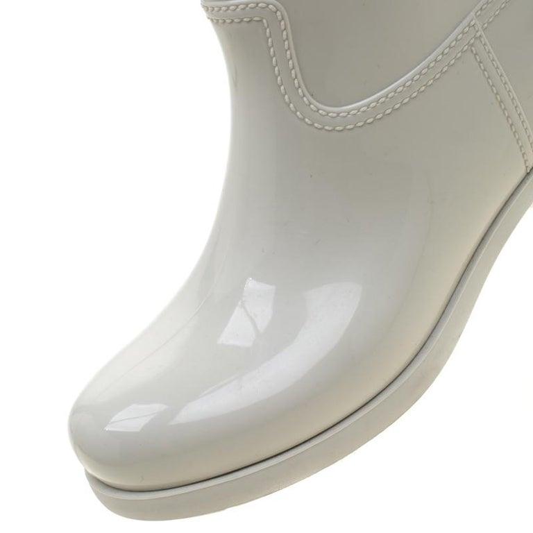 Women's Prada Sport White Rubber Clay Rain Boots Size 38 For Sale