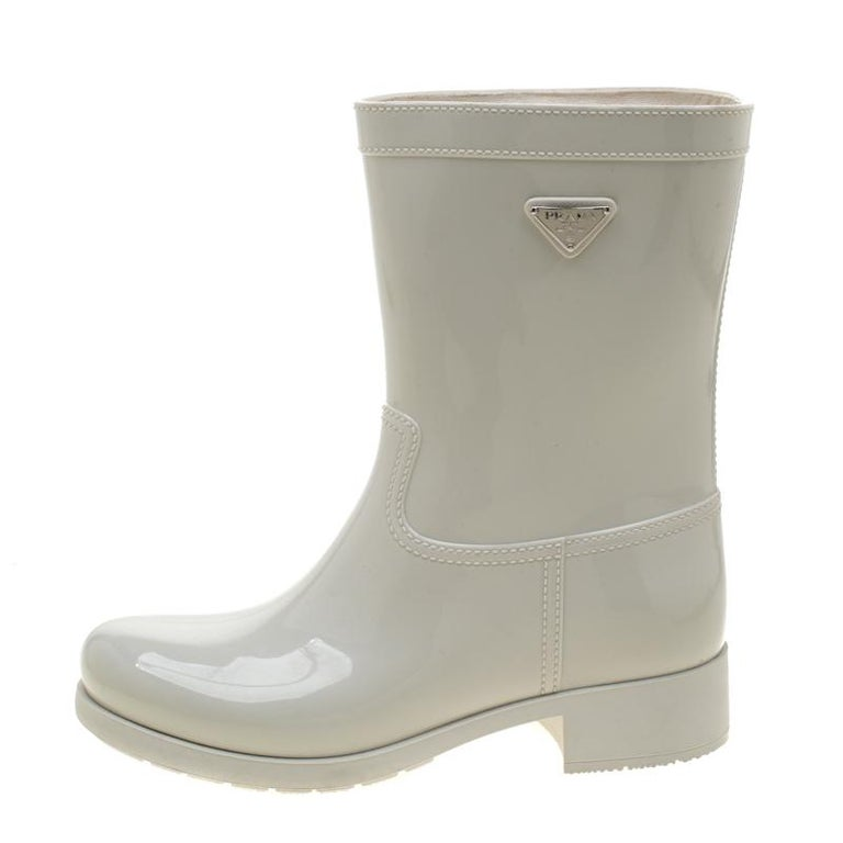 Prada Sport White Rubber Clay Rain Boots Size 38 For Sale 1