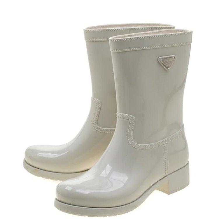Prada Sport White Rubber Clay Rain Boots Size 38 For Sale 2