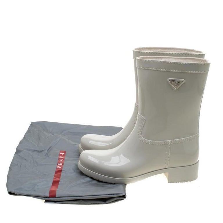 Prada Sport White Rubber Clay Rain Boots Size 38 For Sale 3