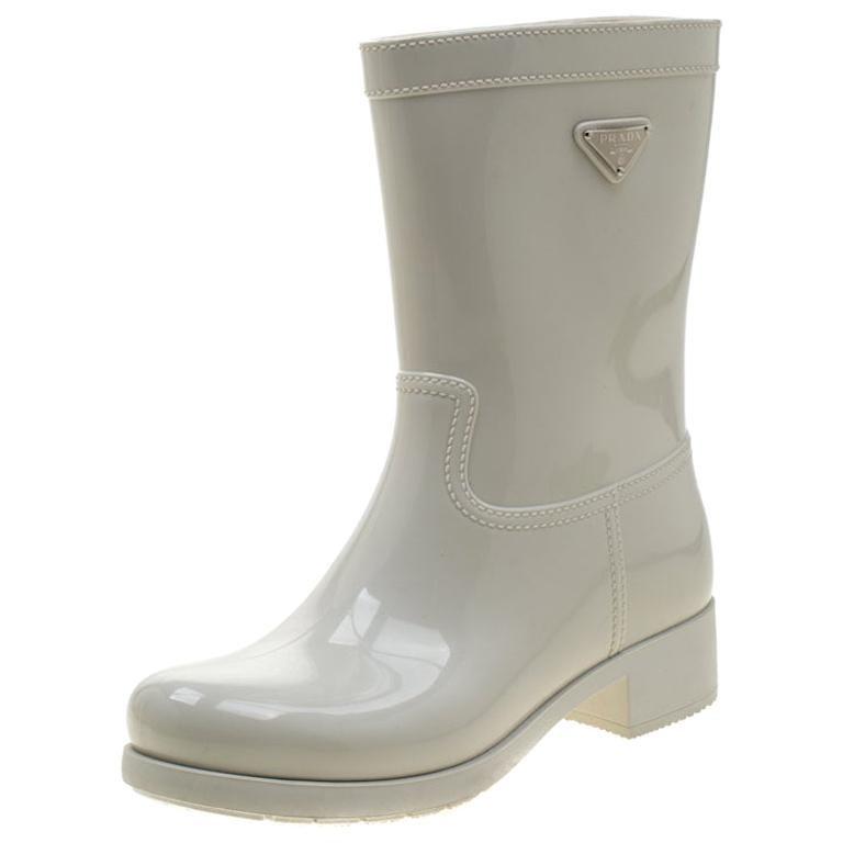 Prada Sport White Rubber Clay Rain Boots Size 38 For Sale