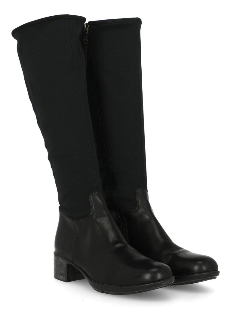 Boots, fabric, solid color, back logo, side fastening, silver-tone hardware, round toe, block heel, low and flat heel.  Includes: - Dust bag  Product Condition: Very Good Heel: slightly visible marks. Sole: visible signs of use. Upper: visible