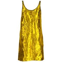 Prada Spring 2009 Gold Metal and Silk Sleeveless Cocktail Dress Runway