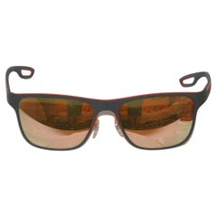 Prada Steel-Gray Accented with Italian-Red 'Loop' Lucite Mirrored Sunglasses