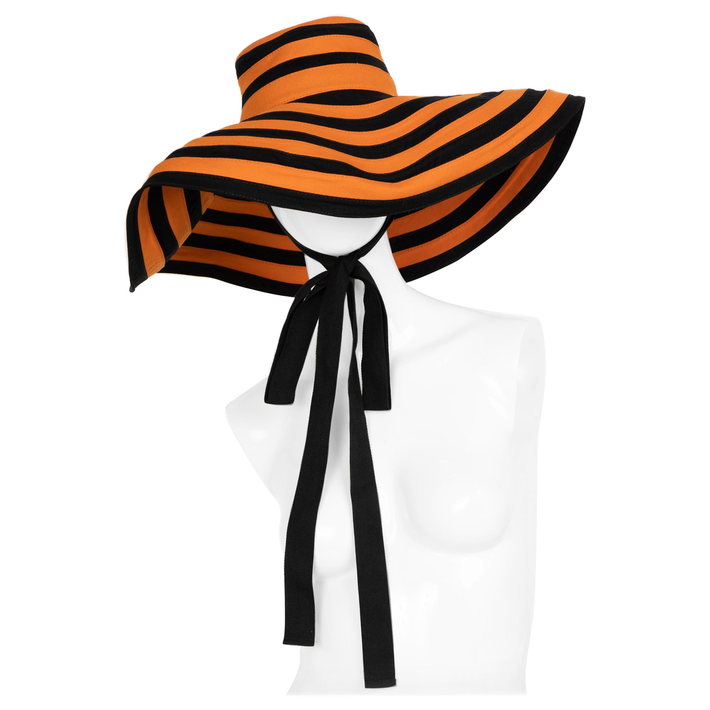 Prada Striped Orange & Black Wide Brim Hat Runway Spring 2011