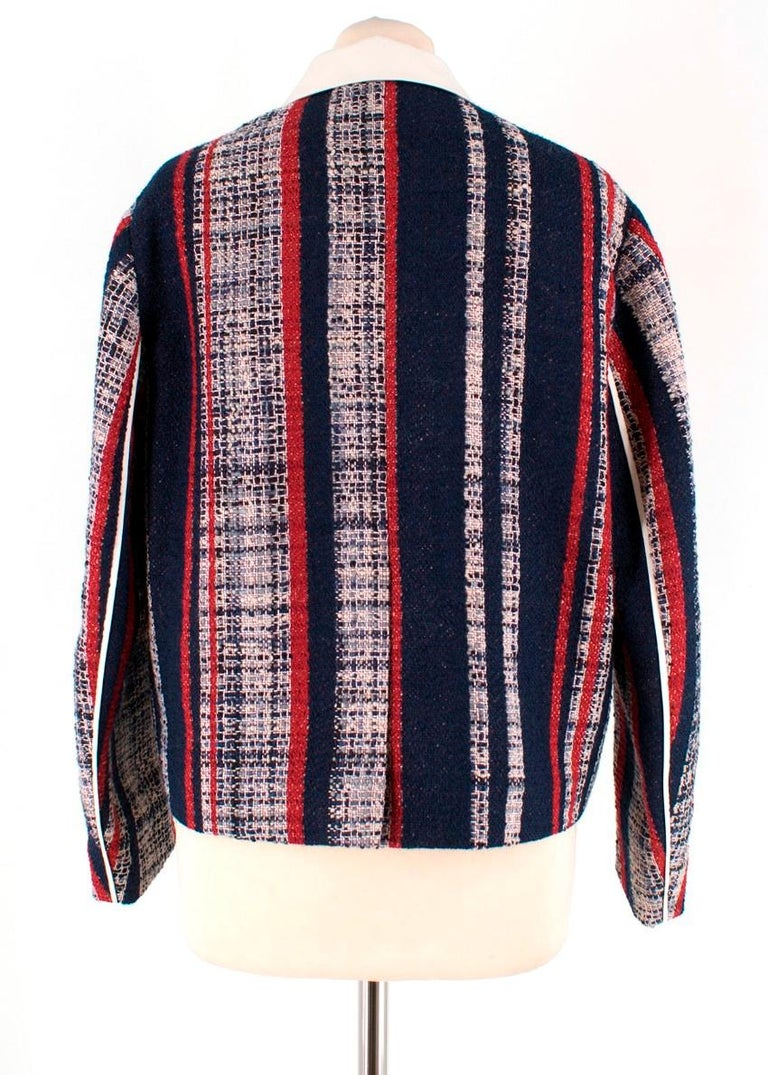 Prada Striped Tweed Jacket US 6 In Excellent Condition For Sale In London, GB