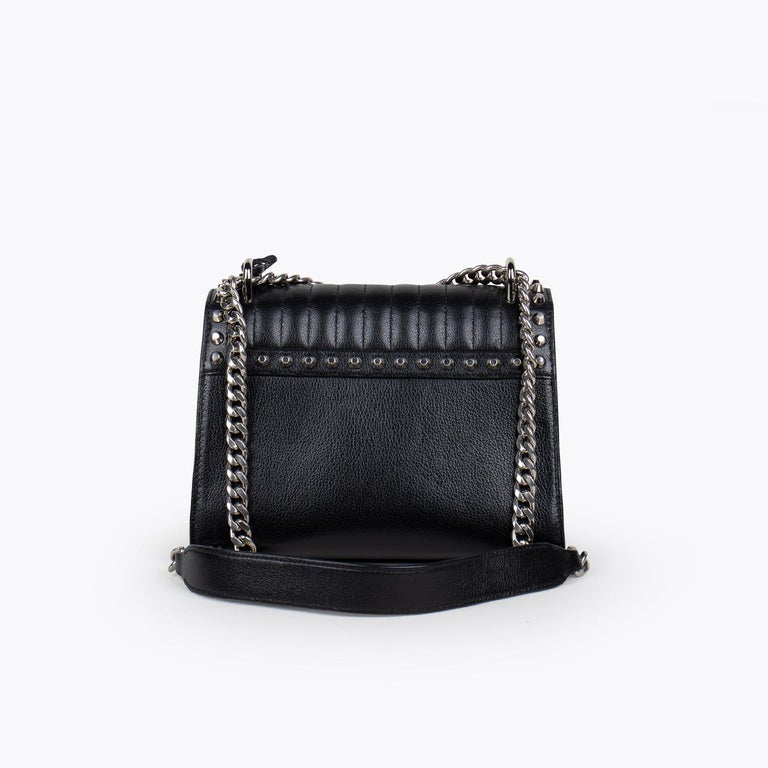 Black Prada Studded Chain Crossbody Bag For Sale