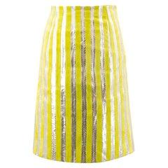 Prada Suede and Striped Pencil Skirt