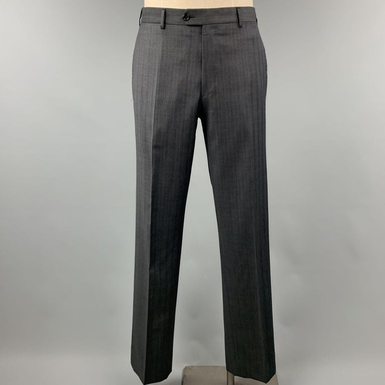 PRADA Suit - US 42 / IT 52 Long Charcoal Stripe Wool  In Good Condition For Sale In San Francisco, CA