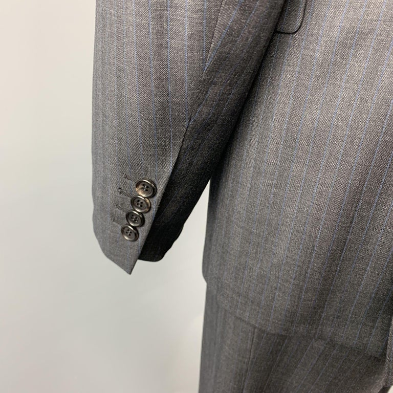 Men's PRADA Suit - US 42 / IT 52 Long Charcoal Stripe Wool  For Sale