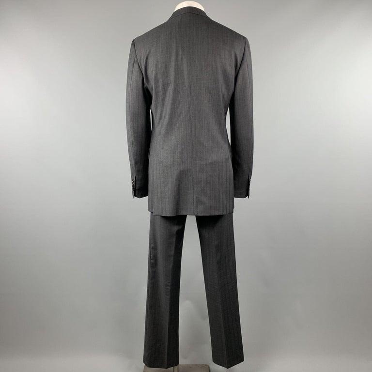 PRADA Suit - US 42 / IT 52 Long Charcoal Stripe Wool  For Sale 1