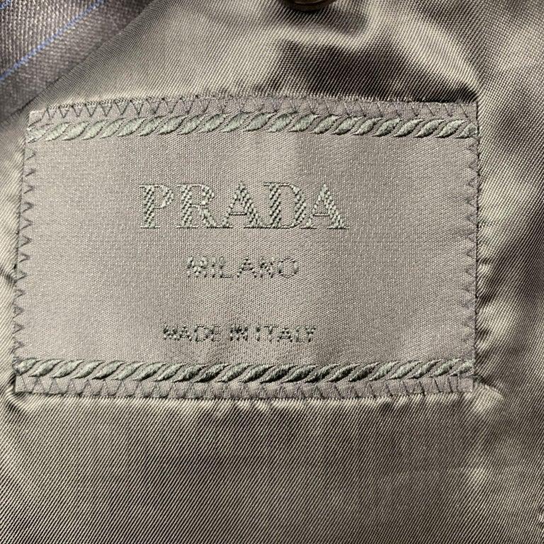 PRADA Suit - US 42 / IT 52 Long Charcoal Stripe Wool  For Sale 2