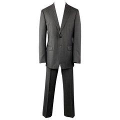 PRADA Suit - US 42 / IT 52 Long Charcoal Stripe Wool