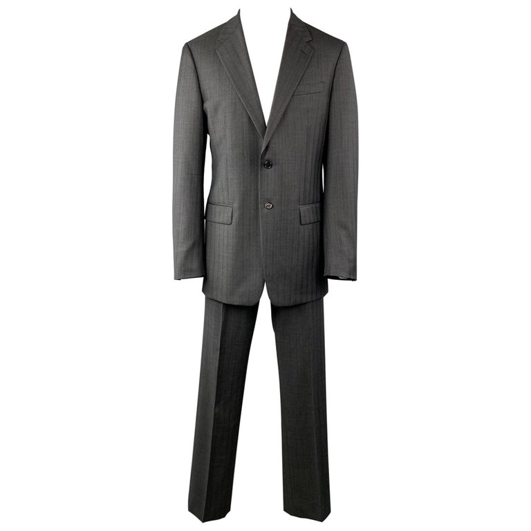 PRADA Suit - US 42 / IT 52 Long Charcoal Stripe Wool  For Sale