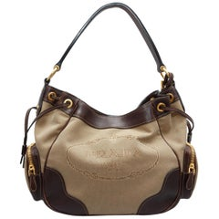 Prada Tan & Brown Canvas Logo Handbag