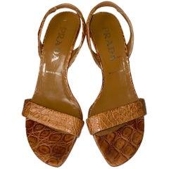 PRADA Tan Exotic Crocodile High Heels Sling Back Sandals