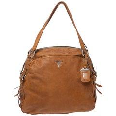 Prada Tan Leather Glazed Zippers Satchel