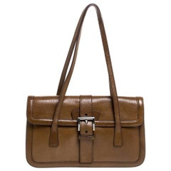 Prada Tan Leather Madras Chic Shoulder Bag