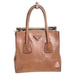 Prada Tan Leather Twin Pocket Double Handle Tote