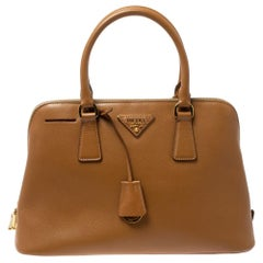 Prada Tan Saffiano Lux Leather Dome Satchel