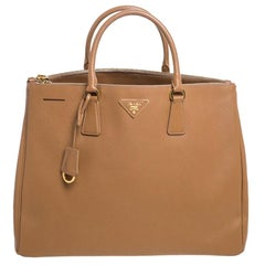 Prada Tan Saffiano Lux Leather Executive Double Zip Tote