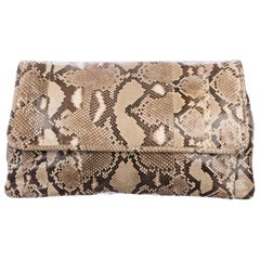Prada Tan Snakeskin Exotic Large Evening Foldover Envelope Flap Clutch Bag