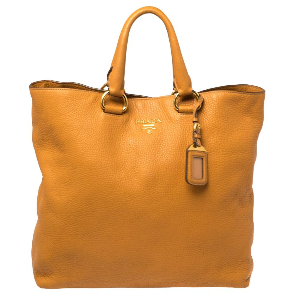 Prada Tan Vitello Daino Leather Shopper Tote