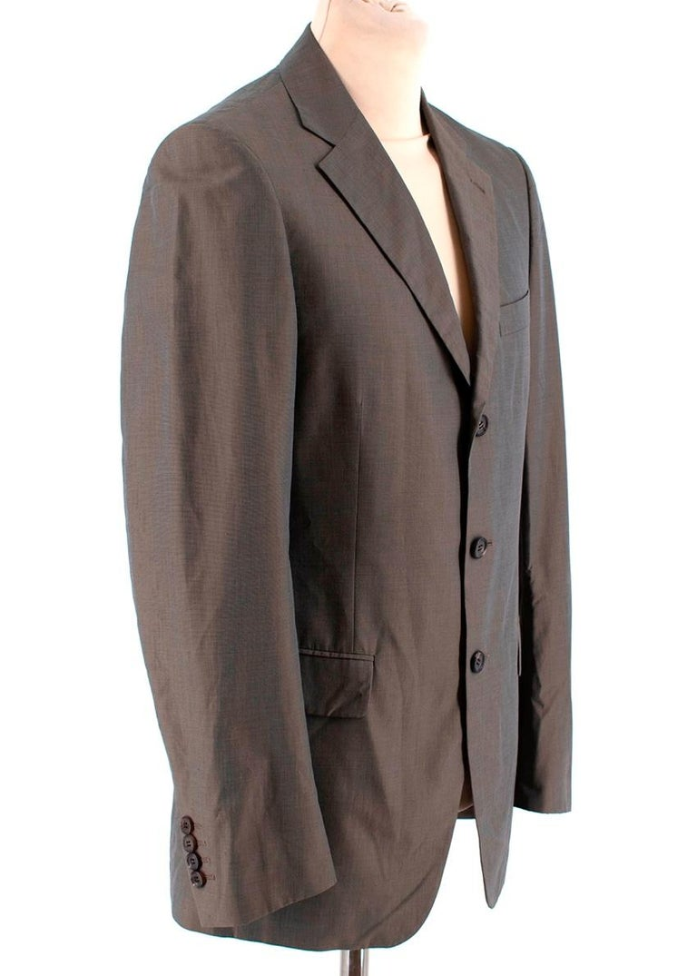 Prada Taupe Cotton Single Breasted Blazer Jacket  -Soft cotton texture  -Gorgeous small checkered pattern -Single breasted classic design  -Vent to the back  -3 pockets to the front  -3 interior pockets  -Button fastening to the front  -Buttoned