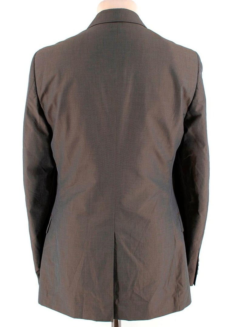 Gray Prada Taupe Cotton Single Breasted Blazer - 48R For Sale