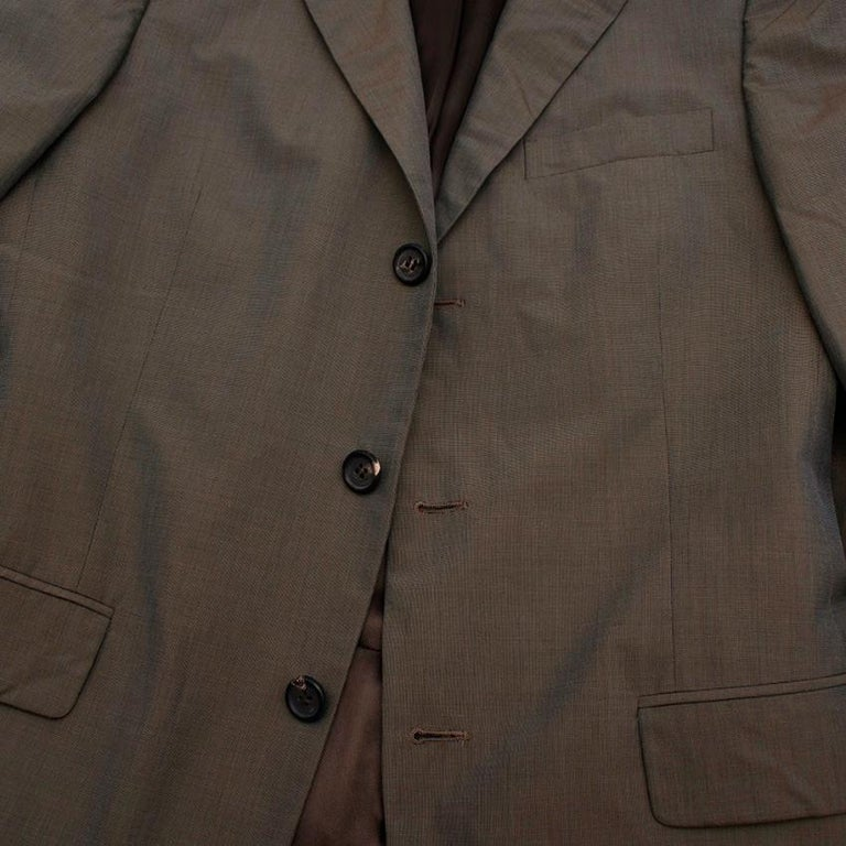 Prada Taupe Cotton Single Breasted Blazer - 48R For Sale 4