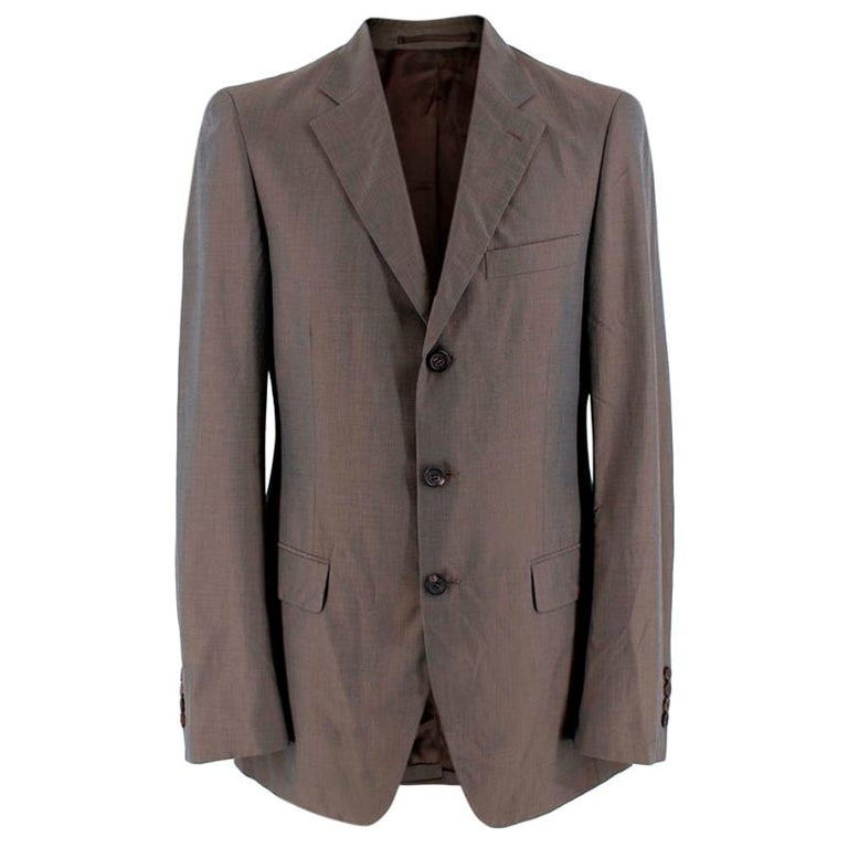 Prada Taupe Cotton Single Breasted Blazer - 48R For Sale