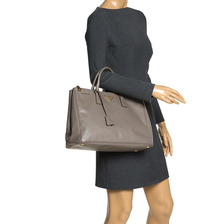 Gray Prada Taupe Saffiano Lux Leather Large Double Zip Tote For Sale