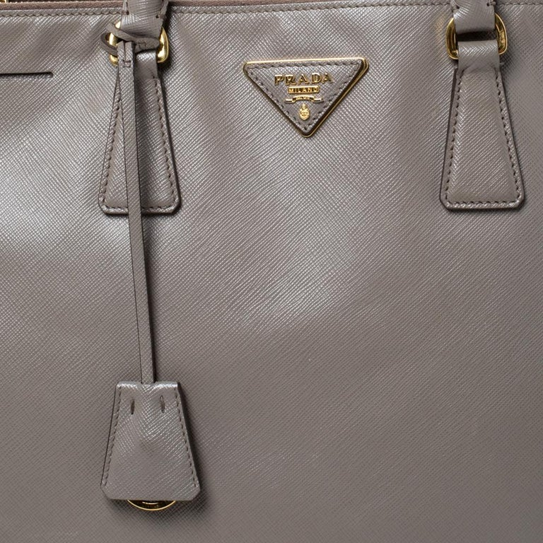 Prada Taupe Saffiano Lux Leather Large Double Zip Tote For Sale 2