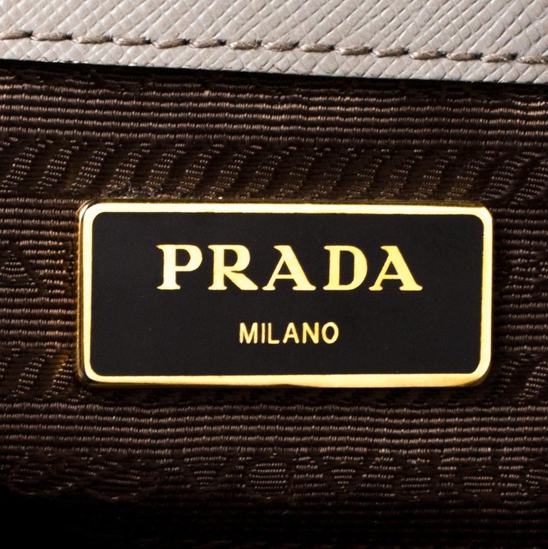 Prada Taupe Saffiano Lux Leather Large Double Zip Tote For Sale 3