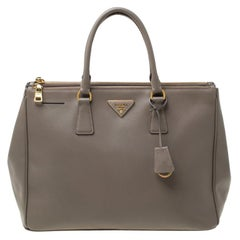 Prada Taupe Saffiano Lux Leather Large Double Zip Tote