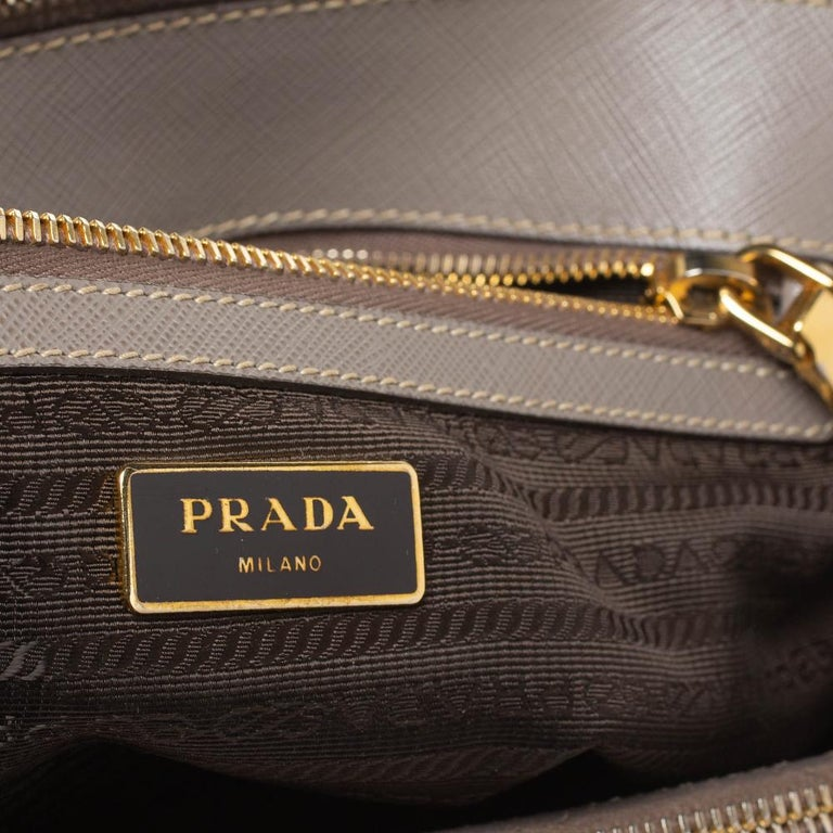 Prada Taupe Saffiano Lux Leather Small Double Zip Tote For Sale 5