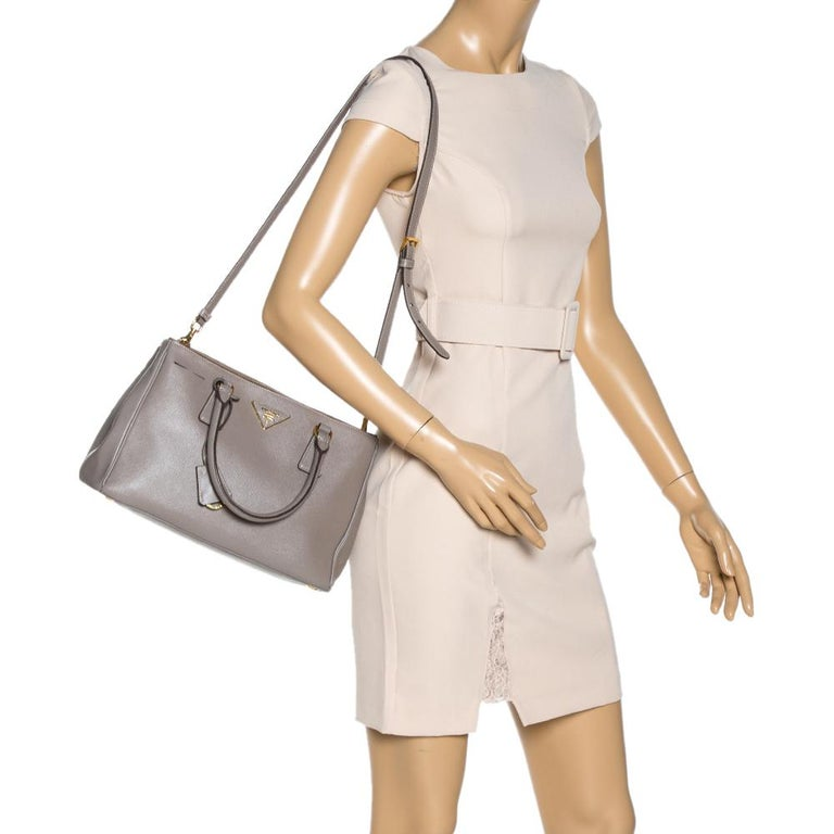 Gray Prada Taupe Saffiano Lux Leather Small Double Zip Tote For Sale