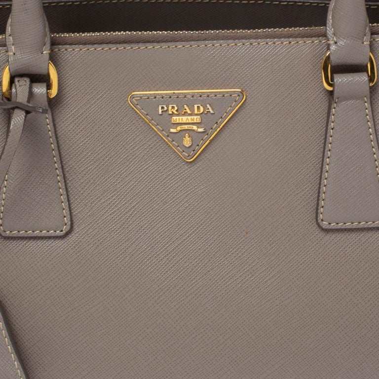 Prada Taupe Saffiano Lux Leather Small Double Zip Tote For Sale 4