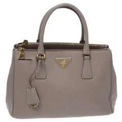 Prada Taupe Saffiano Lux Leather Small Double Zip Tote