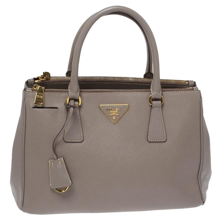 Prada Taupe Saffiano Lux Leather Small Double Zip Tote For Sale