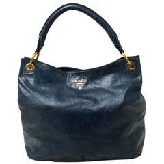Prada Teal Blue Vitello Daino Leather Hobo