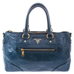 Prada Teal Vitello Daino Leather Front Zip Tote