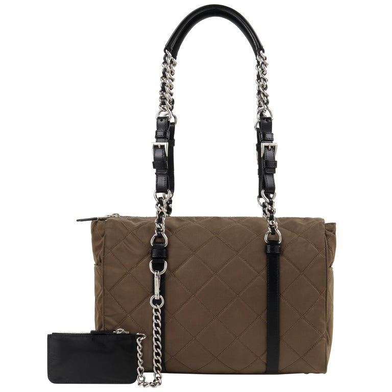 """PRADA """"Tessuto"""" Olive Brown Diamond Quilted Leather Chain Strap Shoulder Bag For Sale"""