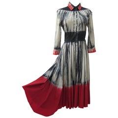 Prada Tie dye Black Red Dress ss 2004