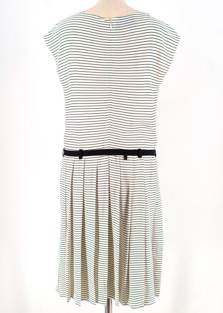 Gray Prada Tie-Waist Striped Crepe Dress IT 40 For Sale