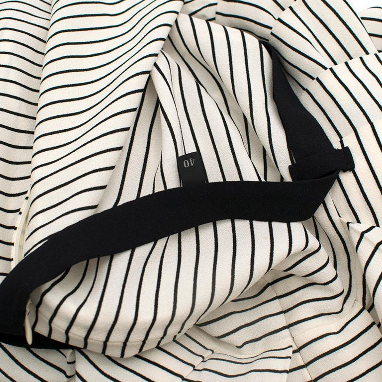Prada Tie-Waist Striped Crepe Dress IT 40 In Good Condition For Sale In London, GB