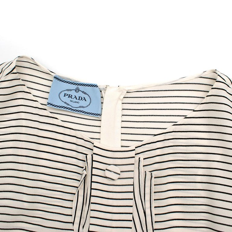 Prada Tie-Waist Striped Crepe Dress IT 40 For Sale 1